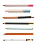Kosmetische geplaatste potloden Stock Foto's