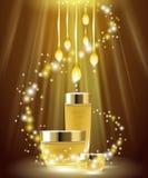 Kosmetische Hautpflegeanzeigen des goldenen Öls Fahnenhintergrundschablonenförderungscreme-Goldpaket Helle Marke 3d der Scheine Lizenzfreie Stockfotografie