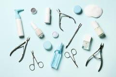 Kosmetische hulpmiddelen voor manicure en pedicure royalty-vrije stock afbeelding