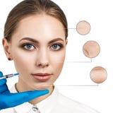 Kosmetische injectie aan het vrij vrouwelijke gezicht Royalty-vrije Stock Fotografie