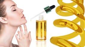 Kosmetische olie die op gezicht van jonge vrouw van toepassing zijn royalty-vrije stock foto's