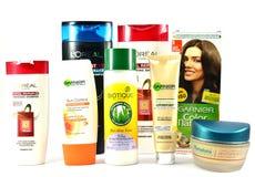Kosmetische Produkte für Haut und Haarpflege von den globalen Marken Biotique Lizenzfreie Stockfotos