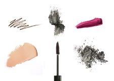 Kosmetische Produkte getrennt auf Weiß Lizenzfreies Stockfoto