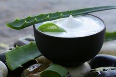 Kosmetische Sahnelotion mit natürlicher grüner Aloe Vera stockbilder
