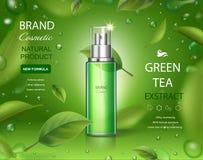 Kosmetische Sprayanzeigen grüner Tee skincare Feuchtigkeit mit den Blättern, die auf grüne Hintergrundillustration fliegen lizenzfreie abbildung