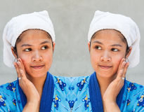 Before and after kosmetische verrichting royalty-vrije stock fotografie