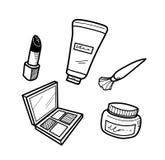 Kosmetischer Gekritzel-Satz Lizenzfreies Stockbild