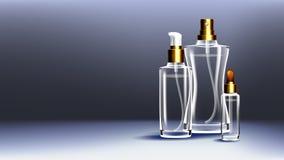 Kosmetischer Glasanzeigen-Vektor Medizinische Feuchtigkeitscreme Öl, Wasser, Parfüm Flasche 3D lokalisierte transparentes realist lizenzfreie abbildung