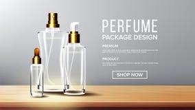 Kosmetischer Glasentwurfs-Vektor Flasche Öl, Wasser, Parfüm Erstklassiges Glas 3D lokalisierte transparentes realistisches Modell vektor abbildung