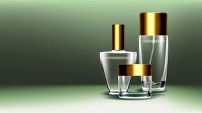 Kosmetischer Glasprodukt-Vektor Duft, Kollagen Badekurort, Make-up Flasche glas 3D lokalisierte transparentes realistisches Model stock abbildung