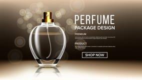 Kosmetischer Glasprodukt-Vektor Flasche Luxus, Mode Duft, Kollagen transparentes realistisches Modell 3D lizenzfreie abbildung