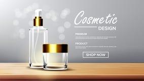 Kosmetischer Glasverpackungs-Vektor Gesichts-Sorgfalt Duft, Kollagen Flasche glas transparentes realistisches Modell 3D lizenzfreie abbildung
