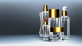 Kosmetischer Glasverpackungs-Vektor Gesichtslotion Weicher Spray Flasche glas 3D lokalisierte transparentes realistisches Modell lizenzfreie abbildung
