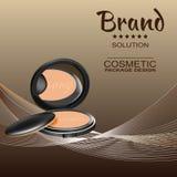 Kosmetisches Pulver für das Gesicht auf einem braunen Hintergrund und mehrfarbigen Threads lizenzfreie abbildung