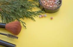 Kosmetisches Zubehör Bürsten Sie, erröten Sie, Lippenstift, grüne Niederlassungen auf einem gelben Hintergrund stockfotografie