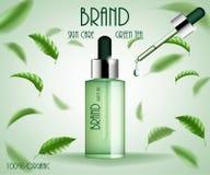 Kosmetisk annonsmallbehandling För hudomsorg för grönt te flaska för serum med teblad och extraktdroppe kosmetisk produkt 3d vektor illustrationer