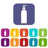 Kosmetisk flasksymbolsuppsättning Royaltyfri Fotografi