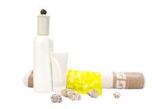 kosmetisk hand - gjord set tvålhandduk Arkivfoto