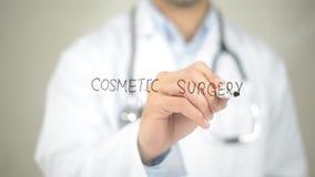 Kosmetisk kirurgi, doktorshandstil på den genomskinliga skärmen Royaltyfri Bild