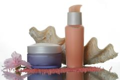 kosmetisk lotion set w för flaskor Royaltyfri Foto