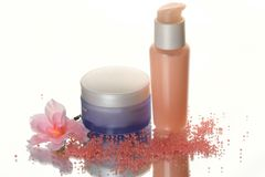 kosmetisk lotion set w för flaskor Royaltyfria Foton