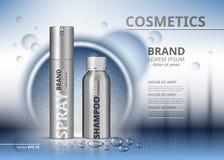 Kosmetisk packeannonsmall Schampo och sprej i silverflaskor Realistisk illustration för modell 3D sparkling vatten Royaltyfri Bild