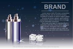 Kosmetisk produkt, sprejflaska, bakgrund med is- och fallasnö Arkivfoton