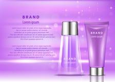 Kosmetisk produktannons Illustration för vektor 3d Design för mall för flaska för hudomsorg Framsida- och kroppsminkkräm och loti Arkivfoto