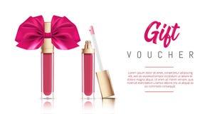 Kosmetisk sminkgåvavaucher Vektorillustration av vätskeläppstift med bandpilbågen Modeskönhetsmedelbaner stock illustrationer