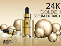 Kosmetiska annonser Flaska för guld- extrakt för serum kosmetisk guld- med guld- bollar 24K Royaltyfri Fotografi