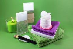 Kosmetiska bomullsblock arkivbild