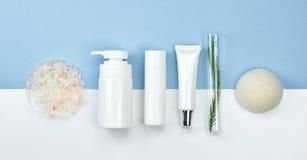 Kosmetiska flaskbehållare med naturliga ingredienser, tom etikett för att brännmärka modellen, naturligt skönhetsproduktbegrepp Royaltyfri Foto