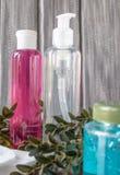 Kosmetiska flaskor på en grå bakgrund med en grön kvist royaltyfria bilder