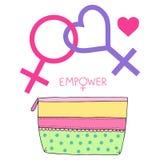 Kosmetiskt handväska- och feministlesbisk kvinnasymbol Stock Illustrationer
