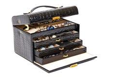 kosmetiskt jeweleryläder för svart ask Fotografering för Bildbyråer