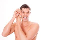 kosmetyczna depilaci mężczyzna pinceta zdjęcie royalty free