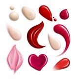 Kosmetyczna Fundacyjna Lipgloss śmietanka Maże Realistycznego ikona set royalty ilustracja