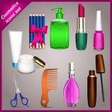 Kosmetyczne ikony ustawiać Fotografia Stock