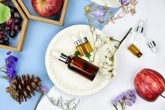 Kosmetyczni butelka zbiorniki z owocowymi witaminy esenci składnikami, Pusta etykietka dla oznakować egzamin próbnego Zdjęcia Stock