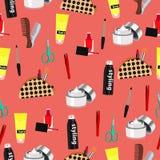 Kosmetyczny bezszwowy wzór, mod akcesoriów tło Gwoździa połysk, makeup, włosiany tytułowanie, kiść, śmietanka, grępla, nożyce, ki royalty ilustracja
