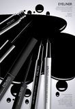 Kosmetyczny Eyeliner z Pakowa? Plakatowego projekt zdjęcia stock