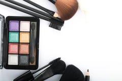 Kosmetyczny krzak ustawiający dla makeup twój twarz Zdjęcia Royalty Free