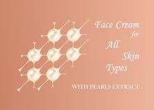 Kosmetyczny logotyp, perły struktura Wektorowa piękno ilustracja clinically badający nowatorski produkt Kosmetyczna skóra ilustracja wektor