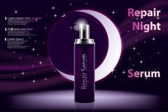 Kosmetyczny nawilżanie produkt Błyszcząca fiołkowa nocy serum butelka na ciemnym purpurowym tle z rozjarzonymi elementami i ilustracja wektor