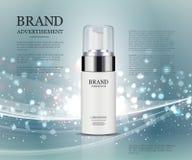 Kosmetyczny reklama szablon, esenci butelka Royalty Ilustracja