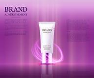 Kosmetyczny reklama szablon, esenci butelka Ilustracji