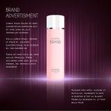 Kosmetyczny reklama szablon, esenci butelka Ilustracja Wektor