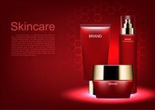 Kosmetyczny reklama szablon, kosmetyczny ustawiający z czerwonym roju tłem royalty ilustracja