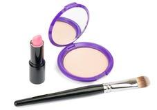 kosmetyków akcesoria, muśnięcie, pomadka Fotografia Stock