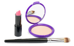 Kosmetyków akcesoria, muśnięcie, pomadka na bielu Zdjęcie Royalty Free